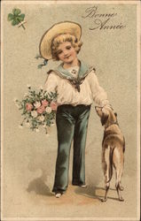 Boy in Sailor Suit with Dog and Flowers