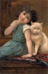 Young GIrl with White Cat
