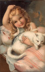 Blonde Girl in Bed with White Cat