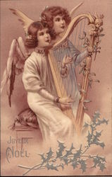 Two Angels Playing a Harp