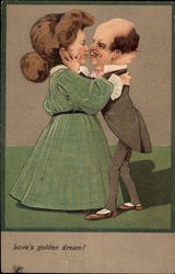 Kissing Couple with Large Heads