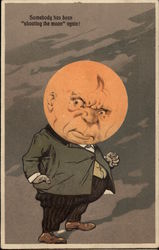 Grumpy Man with Full Moon Face