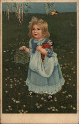 Girl in Field with Doll and Birdcage