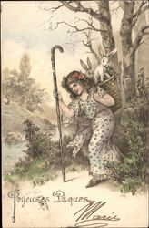 Joyeuses Paques - Girl Carrying Basket of Rabbits