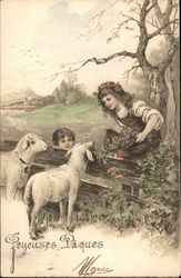 Girl and Boy at Fence with Two Sheep