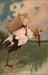 Stork with Babies in Basket