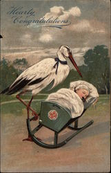 Stork Rocking a Baby in a Cradle