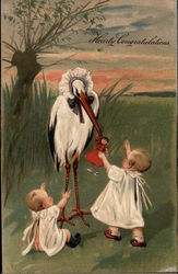 Stork with Doll and Two Babies
