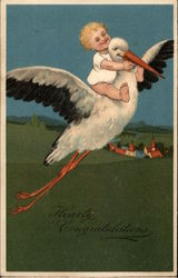 Baby riding a stork