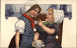 Dutch GIrls With Teacup and Spoon