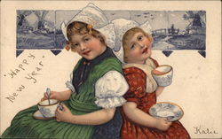 Two Dutch Girls With Teacups