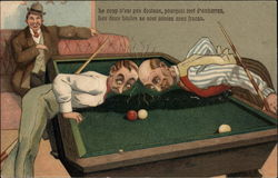 Three Men Playing Pool
