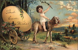 Best Easter Wishes - Child Riding a Lamb