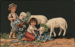 Two Children with Lambs and Flowers