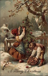 Children Collecting Apples and Decorating a Christmas Tree Outside