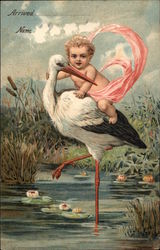 Baby in Pink Sash Riding a Stork