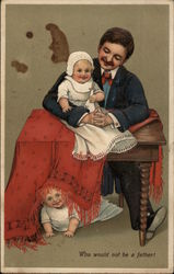 Man at Desk with Two Babies