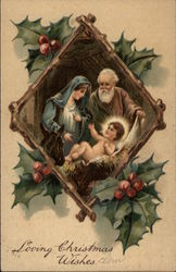Nativity Scene Inset with Holly Frame
