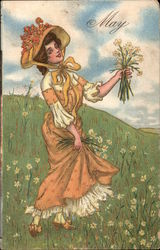 Woman in Field with Daisies