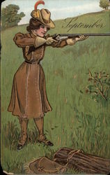 Woman in Brown Hunting Gear with Gun
