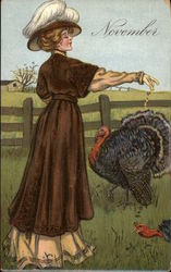 Woman in Brown Feeding Turkeys