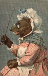 Bear Dressed as an Old Lady with Bonnet, Glasses and Cane