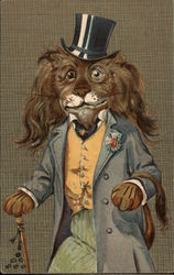 Lion in Fancy Dress with Monocle