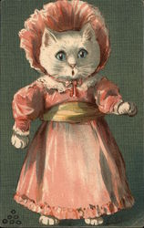 White Kitten in Pink Dress and Bonnet