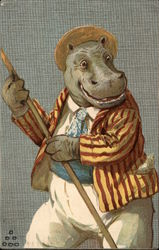 Hippo in Boating Outfit