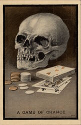 Skull with Cards and Poker Chips