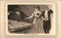 Well Dressed Men and Woman Playing Pool