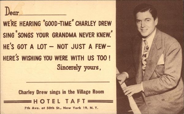 Charley Drew Sings in the Village Room, Hotel Taft