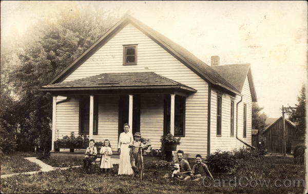 Family In Front Yard Galesburg Illinois