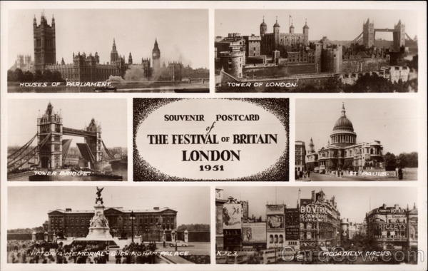 Souvenir Postcard of The Festival of Britain London England