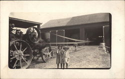 Family On Farm, Steam Powered Tractor