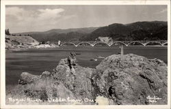 View of Rogue River and Bridge Postcard