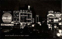 Piccadilly Circus at Night Postcard