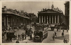 Bank of England and Royal Exchange on a Busy Day Postcard