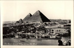 The Pyramids and Village during Nile Flood Postcard