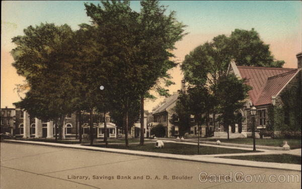 Library, Savings Bank and D. A. R. Boulder Woodstock Vermont