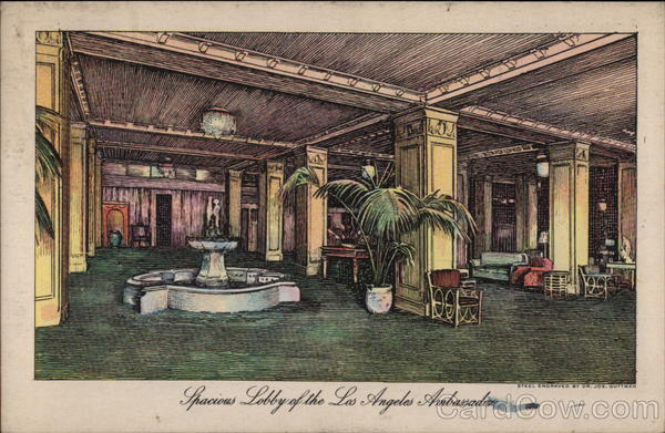 Spacious Lobby of the Los Angeles Ambassador California