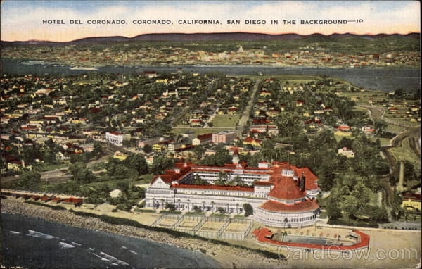Aerial View of Hotel Del Coronado, San Diego in the Background California