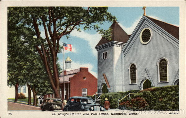 St. Mary's Church and Post Office Nantucket Massachusetts