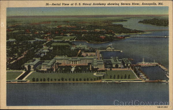 Aerial view of US Naval Academy showing Severn River Annapolis Maryland