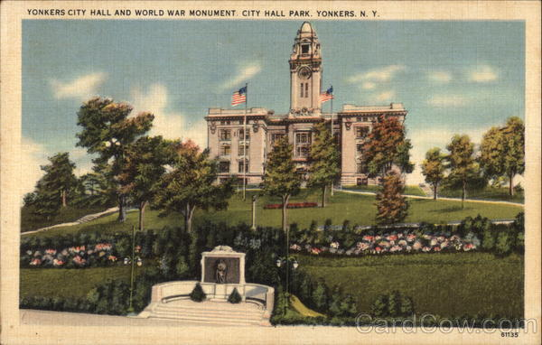 Yonkers City Hall and World War Monument, City Hall Park New York