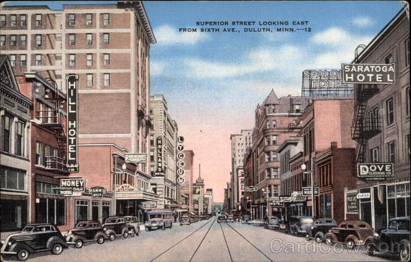 Superior Street Looking East from Sixth Ave Duluth Minnesota