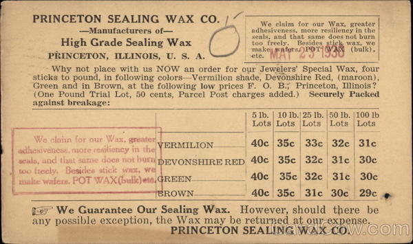 Princeton Sealing Wax Co. - Price List Illinois Advertising