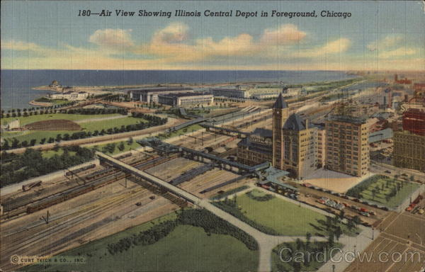 Air view showing Illinois Central Depot in foreground Chicago