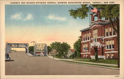 Highway and Bridges Entering Hornell Showing Washington School Postcard