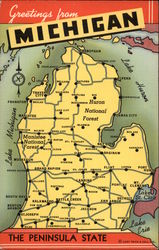 Greetings from Michigan - The Peninsular State - Map
